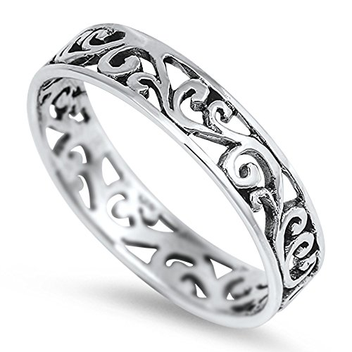 Eternity Celtic Design Fashion Ring New .925 Sterling Silver Band Size 2