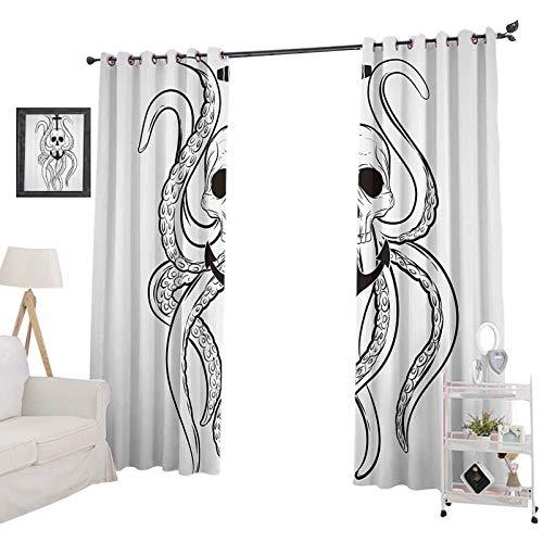 YUAZHOQI - Juego de cortinas opacas con diseño de calavera y pulpo y ancla pirata océano clásico, diseño de tatuaje, cortinas de bloqueo de luz para guardería de 132 x 160 cm, color negro y blanco