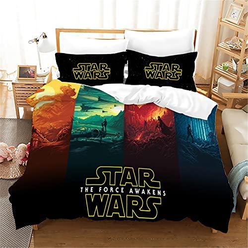 uego de ropa de cama infantil de Jedi Order, diseño de Star Wars, de fácil cuidado, regalo para niños, microfibra, 1 funda nórdica y 2 fundas de almohada
