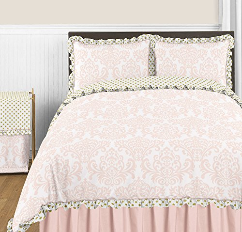 Sweet Jojo Designs 3-Piece Blush Pink White Damask and Gold Polka Dot Amelia Girls Full / Queen Childrens Bedding Set