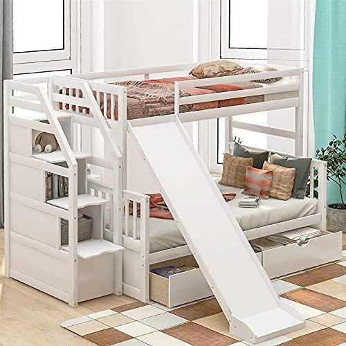 MWKL La más Nueva litera Doble sobre tamaño Completo, litera de Madera con 2 cajones, tobogán y Escalera, litera de Almacenamiento para niños, Color Blanco