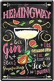 Hemingway Cocktail receta Gin Grapefruit Granadina Jarabe Ice 20 x 30 cm Bar Party Keller Deko chapa Cartel 1091