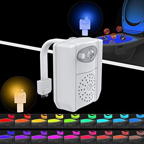 Desqueena 16-Colores de luz LED del Sensor de Movimiento PIR + luz UV Esterilización Sensor aromaterapia, baño de Inodoros Asiento luz de la Noche, DC 5V (Blancos), StarLightd