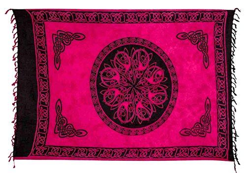 Ciffre Sarong Pareo Pink Wickelrock Lunghi Dhoti Tuch Strandtuch Keltisch Kreis Batik