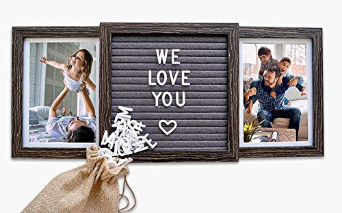 Personalized Two Picture Frame for Dad on Fathers Day (Rustic Brown)   Customizable Picture Frame with Genuine Felt Letter Board for Grandpa / Papa, Mom, Dogs