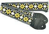 Souldier GS1069BK02BK Custom USA Handmade Tulip Rooftop Electric Guitar Strap - Black/Gold