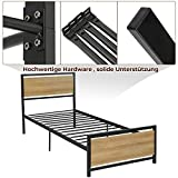 ADORNEVE Metallbett Bettrahmen 90x200cm Einzelbett mit Kopfteil und Lattenrost, geeignet für Räume für Kinder und Jugendliche, Schwarz Stahlrahmen - 6