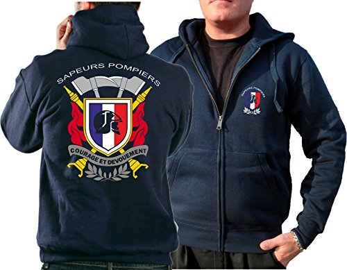 Veste à capuche Navy/bleu marine) Sapeurs pompiers - Courage et Devouement, Multicolore M bleu marine