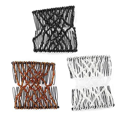 Frcolor Haarkämme Magie Strass Perlen Doppel Haar Kamm Clip Stretchy Afrikanische Haarspangen 3 Stück (Weiß, Schwarz, Braun)
