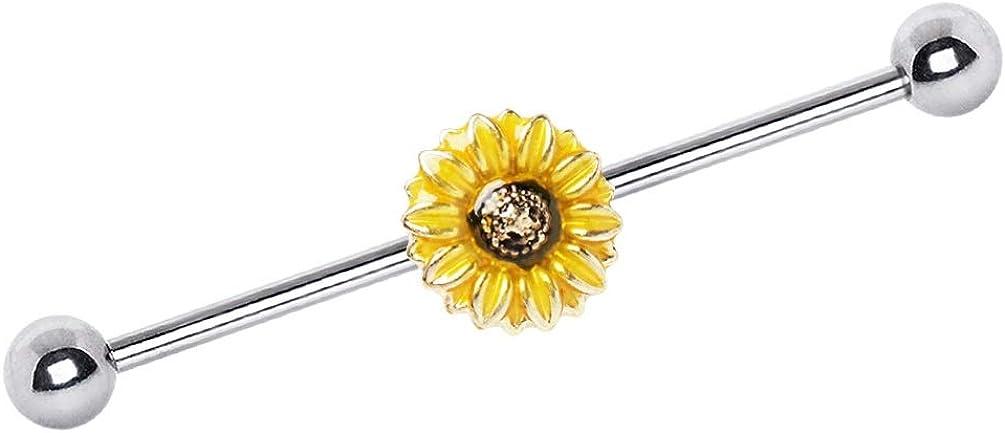 BYB Barbells Sunflower Steel Industrial Barbell Piercing Jewelry 14G-38mm