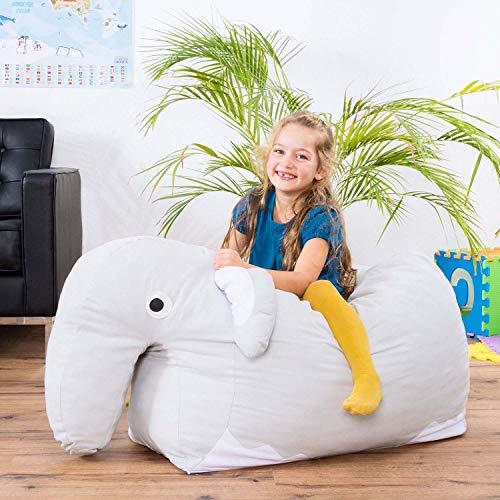 Smoothy Kindersitzsack Elefant - Tierform Sitzsack für Kinder - Kindermöbel XXL Stofftier aus Baumwolle - 3