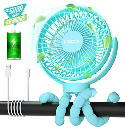 Portable Stroller Fan, 40H 10000mAh Battery Operated Fan With Flexible Tripod, Personal Mini Handheld Fans Clip On For Baby Stroller, Carseat, Beach, Bed, Desk, USB Rechargeable Battery Powered Fan