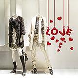 kina VSV0308 Stickers muraux vitrophanie Saint Valentin – Étiquettes Love – Dimensions 60 x 40 cm – Rouge – Vitrines magasins pour la Saint-Valentin, Stickers, Autocollants