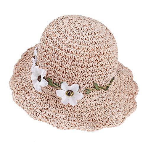 Stroh Sommerhut für Mädchen Kinder Atmungsaktiver Strand Sonnenhut Breite Faltbar mit Blumendekoration für den Urlaub Reise Outdoor-Aktivitäten