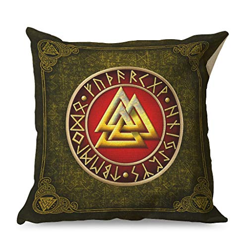 WellWellWell Viking Rune Valknut Golden Pillowcase Printed Hypoallergenic Square Cushion Case use in Chair Cushions for Tent with Hidden Zipper white 45x45cm