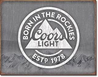 Desperate Enterprises Coors Light Born in The Rockies Beer Tin Sign 16 X 12