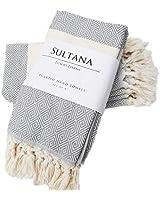 Sultana Luxury Linens - Turkish Hand Towels (Set of 4) | 100% Cotton | Eco-Friendly | Quick Dry | Hand, Tea, Kitchen, Hair, Spa, Face, Bath, Dish | Decorative Bathroom Towel | Peshkirs (Grey)