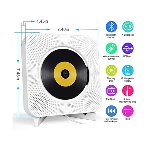 Portable CD Player with Bluetooth, Wall Mountable CD Music Player Home Audio Boombox with Remote Control FM Radio Built-in HiFi Speakers, MP3 Headphone Jack AUX Input Output (White) 8