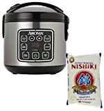 Bundle Includes 2 Items - Aroma Housewares ARC-914SBD 8-Cup (Cooked) Digital Cool-Touch Rice Cooker and Food Steamer with Stainless Steel Exterior, Silver and Nishiki Premium Rice, Medium Grain,