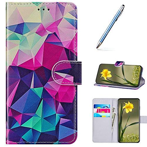 Kompatibel mit Huawei Honor V30 Handyhülle Leder Handytasche,Flip Case mit Bunt Muster Schutzhülle Brieftasche Magnet Kartenfächer Lederhülle Kratzfest Tasche Bookstyle Klapphülle,Geometrisch