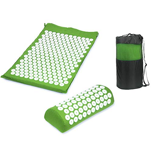 Yoga-Spikes Deurmat met digitale druk, kussen ter verlichting van stress en spanning, pijn en acupunctuur, deurmat met draagtas Groen