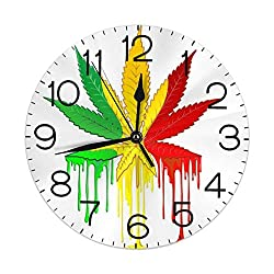 Dujiea Colorful Maple Leaf Round Wall Clock Silent Non Ticking Battery Operated 9.5 Inch for Student Office School Home Decorative Clock Art