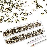 MWOOT Strass 2000 Pezzi per Nails Crafts,Cristalli Gemme 6 Taglie (2-5 mm), Unghie Gemme incastonate con pinzette e Pennarello per Vestiti Fai da Te artistici(Oro)