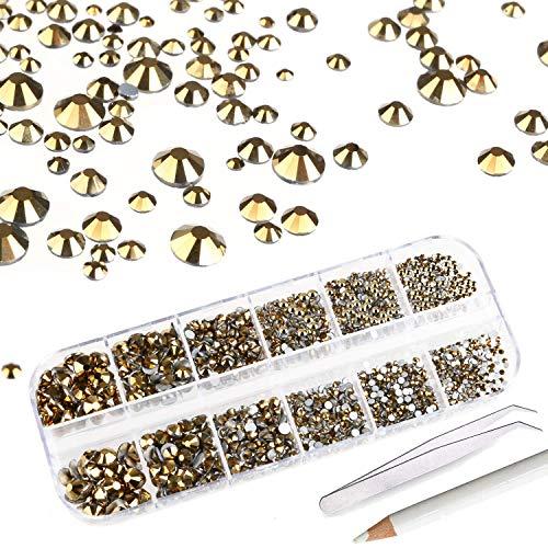Mwoot 2000 Stück Steinchen, Glitzersteine in 6 Größe (2-5mm), Strassstein Set mit Pinzette und Picking Stift für Nageldesign Golden