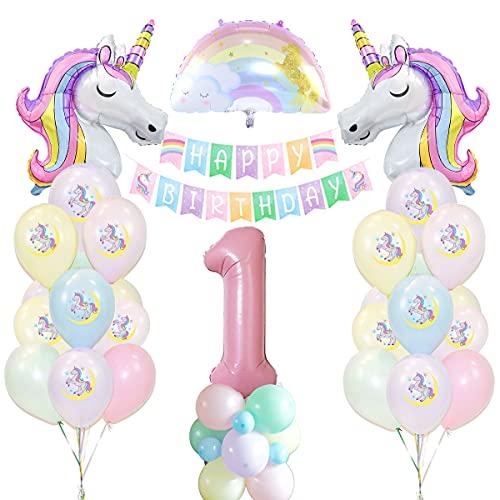 Unicornio Decoración de Cumpleaños 1 años, Globo de Unicornio Macaroncon Pancarta de Cumpleaños Numero 1 Cumpleaños Globos Latex Globos para Decoracion de Fiesta de Cumpleaños Niña Reutilizar