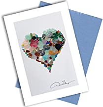 Single Sea Glass Heart Note Card. 3x5 Blank Card with Classy Envelope. Best Birthday Cards, Thank You Notes & Invitations. Unique Christmas, Mother's Day & Valentines Gifts for Women, Men