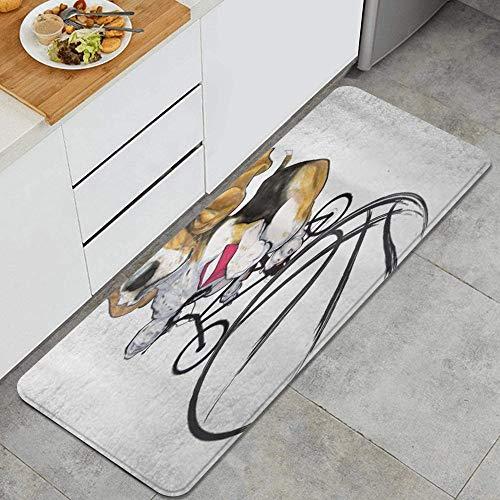 KASMILN Alfombra de Cocina,Perro de Ciclismo Basset Hound,Alfombrilla de Cocina Antideslizante Gruesa(45*120cm