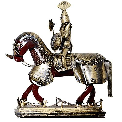 Hoja de hierro creativa Artesanía antigua Estatua de caballero Decoración Desgaste Armadura Hacha de montar Escudo Escultura de personalidad realista Adecuado para el escritorio del hogar Gabi