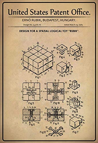 Nwfs Patent Diseño para un Pensamiento Espacial Juguete - de Cubo de Rubik Letrero de Metal Placa de Metal Signo de Metal Tin Sign Arqueado Barnizado 20 X 30CM