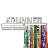 United Medals #Runner Medalla Percha | Acero Cepillado (43cm / 48 Medallas) Soporte para Medallas Deportivas