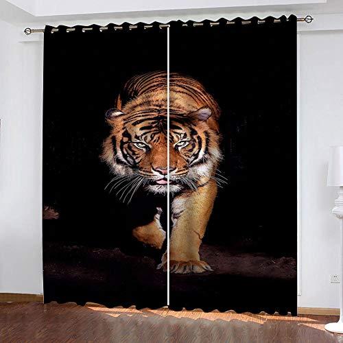 MPHWCL Ondoorzichtig ooggordijn voor slaapkamers Geel tijgerdier 3D-geprint thermisch gordijn en verduisteringsgordijnen polyester gordijnen 234 x 230 cm voor woonkamer slaapkamer kinderkamer