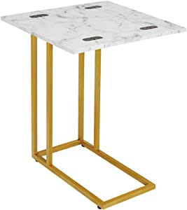 ROSEN Garden Faux Marble C-Shape Folding Side End Table with Metal Frame, Tray Snack Table with Expandable Top, Laptop Coffee Holder, Modern Furniture, White