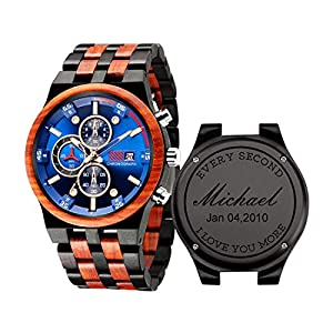 Engraved Wooden Watches Mens – Handmade Date Display Wood Watches for Men for Birthday Anniversary