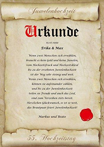 Juwelenhochzeit Urkunde personalisiert Geschenk Karte zum 55. Hochzeitstag A4