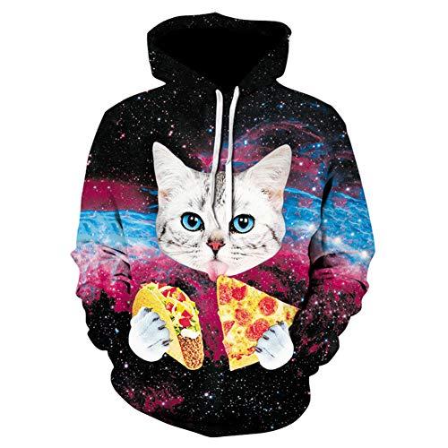 Dsti Sweat à Capuche 3D Chat Pizza Star Imprimé Sweatshirts Drawstring Pulls Hoodies Manches Longues avec Poche Hommes Femmes,4XL
