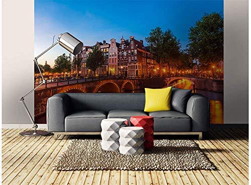 Vlies Fotobehang AMSTERDAM | Niet-Geweven Foto Mural | Wall Mural - Behang - Reusachtige Wandposter | Premium Kwaliteit - Gemaakt in de EU | 375 cm x 250 cm