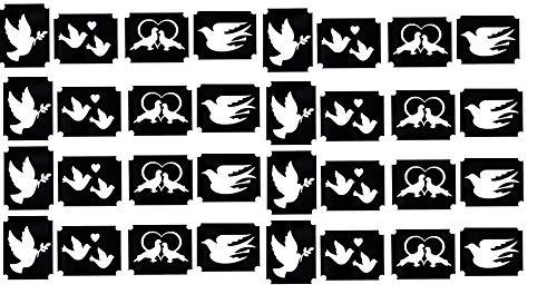 Tauben Dove Nail Nagel Aufkleber Stickers Collection Sammlung (Taube Tattoo Henna Glitzer Schablonen)