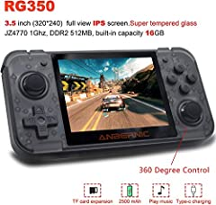 2019 New Upgraded RG350 Game Console , add 360 degree joystick easy to operate . 3.5 Inch IPS Screen(320×240) , super tempered glass to prevent scratching and not hurting the eyes. OpenDingux Tony System , Free with 32G TF Card preloaded 2500 classic...