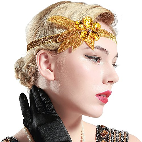 BABEYOND 1920s Stirnband Feder Flapper Stirnband 20er Jahre Stil Haarband Gatsby Accessoires Damen Retro Stirnband (Gold)