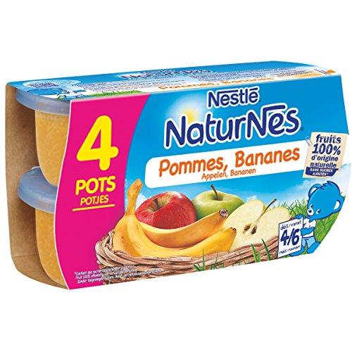 NESTLE NATURNES Compotes Bébé Pommes Bananes - Pack de 4 - Dès 4/6 mois