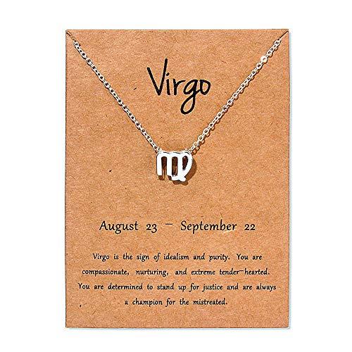 Colgante Horoscopo Collar Signos Del Zodiaco Cadena Mujer Gargantilla Joyas Bisutería Astrológicos Aleación Collares Amor Fina Cumpleaños Valentín Regalos,Virgo