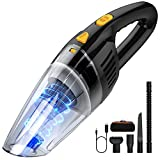 Handheld Vacuum Cleaner Cordless, Oudekay 9000PA 120W High Power Portable Hand Vacuum Cordless Rechargeable Wet Dry Vacuum with Stainless Steel Filter 2x2600mAh Battery Mini Hand Vac Car Pet Hair