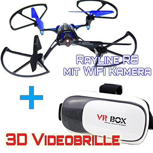 R8 WiFi Drohne + VR2 3D Videobrille Rayline Live Übertragung RC Quadrocopter new (Blau)