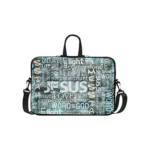 InterestPrint Religious Christian Jesus Quotes 15 15.6 Inch Water Resistant Neoprene Protective Laptop Notebook Sleeve Shoulder Bag with Handle & Strap for Woman Man