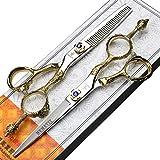 ZWJ-JJ Tijeras 6 pulgadas corona de oro de peluquería profesional, de corte del peluquero y tijeras adelgazamiento conjunto