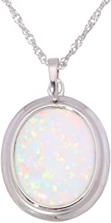 CiNily Created Blue White Opal Rhodium Plated Women Jewelry Pendant Necklace 1 3/8